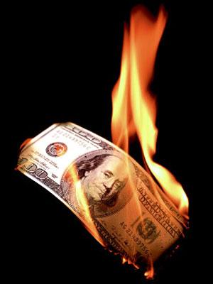 100 bucks burning